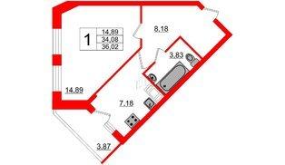 Квартира в ЖК Северный вальс, 1 комнатная, 36.02 м², 4 этаж