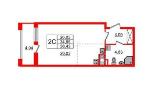 Квартира в ЖК Эмеральд на Малой Неве, студия, 34.95 м², 9 этаж