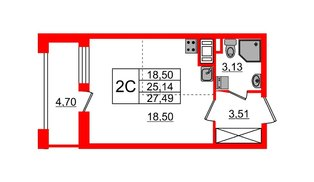 Квартира в ЖК Эмеральд на Малой Неве, студия, 25.14 м², 6 этаж