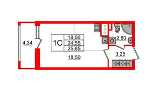 Квартира в ЖК Эмеральд на Малой Неве, студия, 24.55 м², 3 этаж