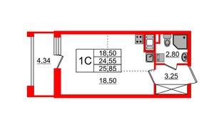 Квартира в ЖК Эмеральд на Малой Неве, студия, 24.55 м², 12 этаж