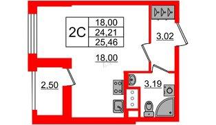Квартира в ЖК Эмеральд на Малой Неве, студия, 24.21 м², 6 этаж