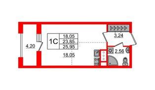 Квартира в ЖК Эмеральд на Малой Неве, студия, 23.85 м², 5 этаж