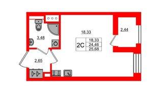 Квартира в ЖК Эмеральд на Малой Неве, студия, 24.46 м², 4 этаж