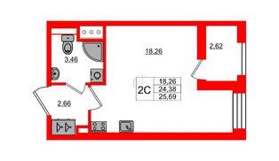 Квартира в ЖК Эмеральд на Малой Неве, студия, 24.38 м², 12 этаж