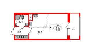 Квартира в ЖК Эмеральд на Малой Неве, студия, 24.07 м², 11 этаж