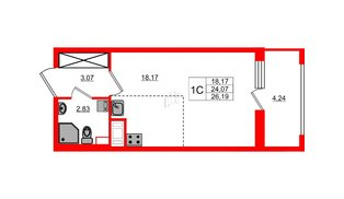 Квартира в ЖК Эмеральд на Малой Неве, студия, 24.07 м², 12 этаж
