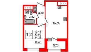 Квартира в ЖК Эмеральд на Малой Неве, 1 комнатная, 32.59 м², 11 этаж