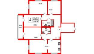 Квартира в ЖК Шуваловский, 4 комнатная, 116.1 м², 9 этаж