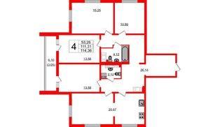 Квартира в ЖК Шуваловский, 4 комнатная, 115.2 м², 24 этаж