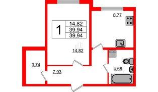 Квартира в ЖК Шуваловский, 1 комнатная, 39.7 м², 1 этаж
