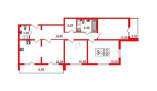 Квартира в ЖК Шуваловский, 3 комнатная, 91.5 м², 20 этаж