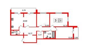 Квартира в ЖК Шуваловский, 3 комнатная, 96.8 м², 2 этаж