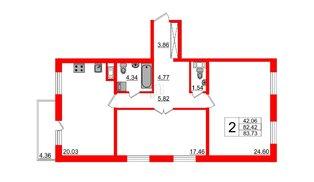 Квартира в ЖК «IQ», 2 комнатная, 83.73 м², 1 этаж