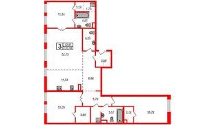 Квартира в ЖК Маленькая Франция, 3 комнатная, 117.67 м², 3 этаж