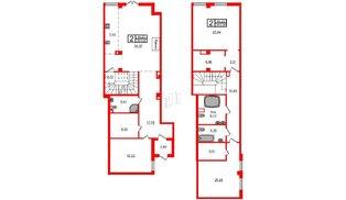 Квартира в ЖК Маленькая Франция, 2 комнатная, 203.26 м², 1 этаж