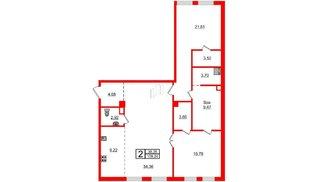 Квартира в ЖК Маленькая Франция, 2 комнатная, 109.24 м², 3 этаж