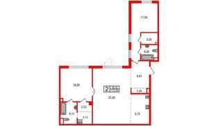 Квартира в ЖК Маленькая Франция, 2 комнатная, 112.38 м², 3 этаж