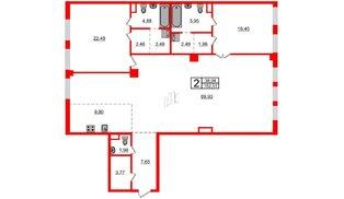 Квартира в ЖК Маленькая Франция, 2 комнатная, 152.51 м², 3 этаж