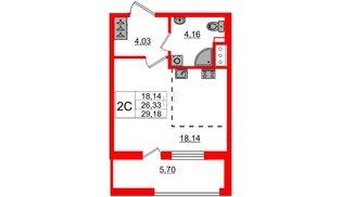 Квартира в ЖК Эмеральд на Малой Неве, студия, 26.33 м², 12 этаж