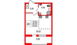 Квартира в ЖК Эмеральд на Малой Неве, студия, 26.65 м², 2 этаж