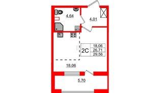 Квартира в ЖК Эмеральд на Малой Неве, студия, 26.71 м², 2 этаж