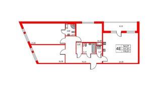 Квартира в ЖК Статус у Парка Победы, 3 комнатная, 109.2 м², 8 этаж
