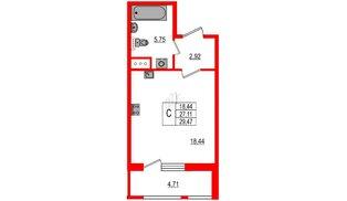 Квартира в ЖК Статус у Парка Победы, студия, 27.11 м², 3 этаж