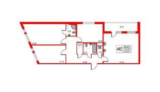 Квартира в ЖК Статус у Парка Победы, 3 комнатная, 109.3 м², 4 этаж