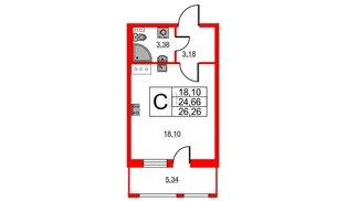 Квартира в ЖК Статус у Парка Победы, студия, 24.66 м², 5 этаж