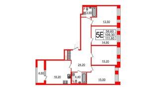 Квартира в ЖК Svetlana Park, 4 комнатная, 109.3 м², 7 этаж