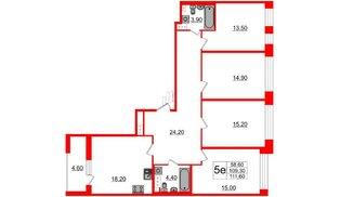 Квартира в ЖК Svetlana Park, 4 комнатная, 109.3 м², 5 этаж