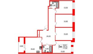 Квартира в ЖК Svetlana Park, 4 комнатная, 109.3 м², 8 этаж