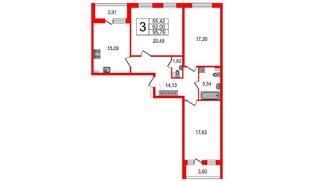 Квартира в ЖК Зеленый квартал на Пулковских высотах, 3 комнатная, 90.1 м², 1 этаж