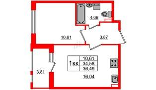 Квартира в ЖК Статус у Парка Победы, 1 комнатная, 34.58 м², 2 этаж