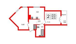 Квартира в ЖК Стерео-2, 2 комнатная, 46.76 м², 12 этаж