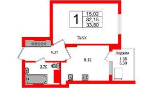Квартира в ЖК Стерео-2, 1 комнатная, 33.8 м², 16 этаж