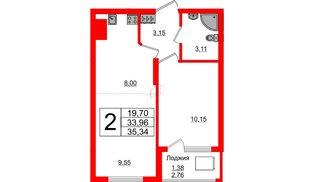 Квартира в ЖК Стерео-2, 2 комнатная, 35.34 м², 16 этаж
