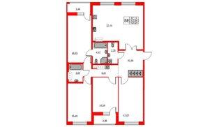 Квартира в ЖК «Триумф Парк», 4 комнатная, 125.84 м², 7 этаж