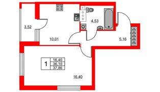 Квартира в ЖК «Триумф Парк», 1 комнатная, 36.1 м², 5 этаж