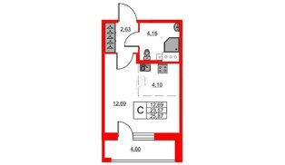 Квартира в ЖК «Триумф Парк», студия, 23.57 м², 8 этаж