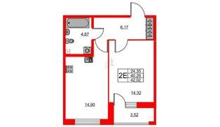 Квартира в ЖК «Триумф Парк», 1 комнатная, 40.26 м², 2 этаж