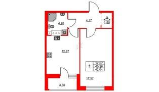 Квартира в ЖК «Триумф Парк», 1 комнатная, 40.36 м², 2 этаж