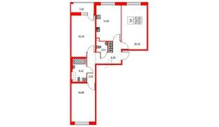 Квартира в ЖК «Триумф Парк», 3 комнатная, 79.61 м², 2 этаж