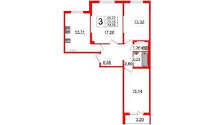 Квартира в ЖК «Новое Сертолово», 3 комнатная, 73.18 м², 3 этаж