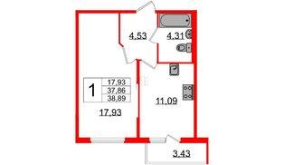 Квартира в ЖК «Новое Сертолово», 1 комнатная, 37.86 м², 1 этаж