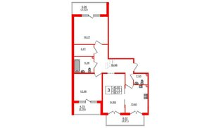 Квартира в ЖК Горки Парк, 3 комнатная, 88.51 м², 2 этаж