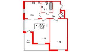Квартира в ЖК Горки Парк, 2 комнатная, 73.69 м², 2 этаж