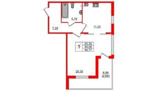 Квартира в ЖК Горки Парк, 1 комнатная, 51.29 м², 2 этаж
