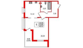 Квартира в ЖК Горки Парк, 1 комнатная, 51.19 м², 3 этаж